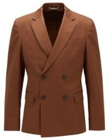 HUGO BOSS - Slim Fit Double Breasted Jacket In Stretch Cotton - Dark Brown