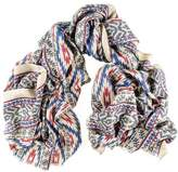 Black Aztec Print Silk and Merino Wool Scarf