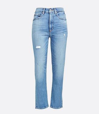 LOFT Petite High Rise Straight Crop Jeans in Authentic Mid Indigo Wash
