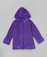Paperdoll Purple Fleece Hooded Coat - Toddler & Girls