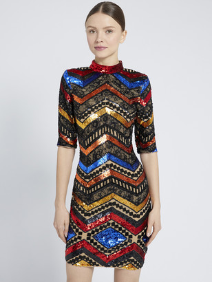 Alice + Olivia Inka Rainbow Sequin Mini Dress