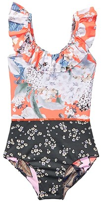 Maaji Kids Hibiscus Leaves One-Piece Swimsuit (Toddler/Little Kids/Big Kids) (Coral Reef Orange Floral) Girl's Swimsuits One Piece