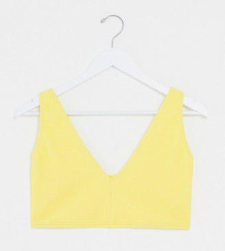 ASOS DESIGN curve v front crinkle crop bikini top in yellow