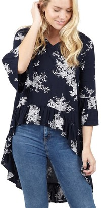 M&Co Izabel ruffle detail high low blouse