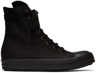 Rick Owens Black Wax High-Top Sneakers