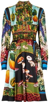 Dolce & Gabbana Printed silk-twill dress