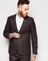 Farah Suit Jacket in Brown Herringbone