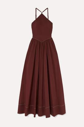 STAUD Natasha Stretch-cotton Poplin Halterneck Maxi Dress - Merlot