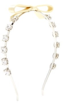 Miu Miu Bow-embellished Crystal Headband - Cream