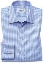 Slim Fit Large Puppytooth Sky Blue Cotton Dress Shirt Single Cuff Size 15.5/32 by Charles Tyrwhitt