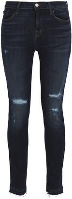 J Brand Distressed Mid-rise Skinny Jeans