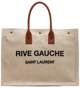 Saint Laurent Large Canvas & Leather Rive Gauche Noe Tote