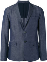 Emporio Armani striped chambray blazer - men - Cotton/Linen/Flax/Polyester - L