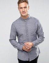 Esprit Longline Shirt with Grandad Collar in Slim Fit