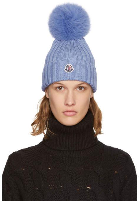 Moncler Blue Fur Pom Pom Beanie