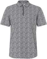 Topman Navy And White Geo Block Print Zip Short Sleeve Casual Shirt