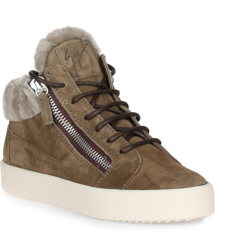 Giuseppe Zanotti Kriss khaki suede shearling sneaker