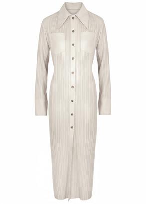 Nanushka Lee Cream Plisse Faux Leather Shirt Dress
