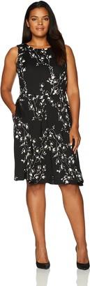 Taylor Dresses Women's Plus Size Etched Floral Fit and Flare Dress