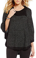 I.N. San Francisco Cowl Neckline Striped Poncho Sweater