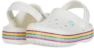 Crocs Crocbandtm Rainbow Glitter Clog (Toddler/Little Kid/Big Kid) (White) Girl's Shoes