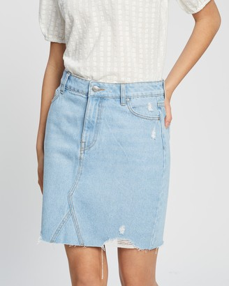 Dorothy Perkins Women's Blue Denim skirts - Bleach Ripped Denim Mini Skirt - Size 6 at The Iconic
