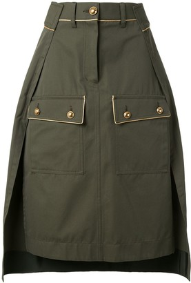 Sacai High-Waisted Twill Skirt