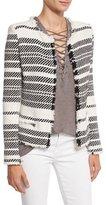IRO Zlata Striped Textured Jacket, Ecru/Black