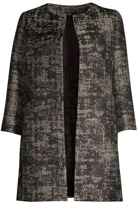 Eileen Fisher Metallic Jacquard Open-Front Topper Coat