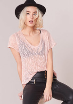 Missy Empire Shelly Pink Sheer Printed Short Sleeved Top