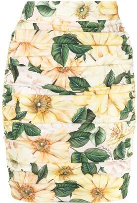 Dolce & Gabbana Floral-Print Ruched Mini Skirt