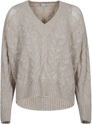 Stella McCartney Destroyed Cable V-neck Jumper