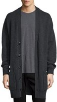 Vince Ribbed-Trim Knit Cardigan Coat, Heather Shadow