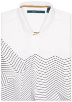 Perry Ellis Short Sleeve Engineered Wavy Stripe Shirt