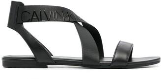 Calvin Klein Leather Crossover Strap Sandals