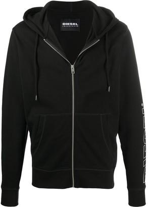 Diesel Brandon logo print zip front hoodie