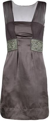 Philosophy di Alberta Ferretti Grey Embroidered Sleeveless Silk Dress S