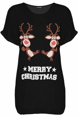 Fashion Star Womens Batwing Xmas Snowman Tree Candy Baggy Christmas Pug Red S/M (UK 8/10)