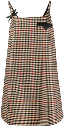 Prada Houndstooth-Pattern Shift Dress