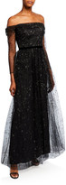 Marchesa Glitter Tulle Off-the-Shoulder Gown with Ribbon Waist Trim
