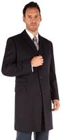 Karl Jackson Navy Melton Tailored Fit Overcoat