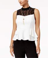 Thalia Sodi Mock-Neck Lace-Trim Peplum Top, Created for Macy's