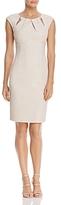 Eliza J Embellished Pleated-Neck Sheath Dress