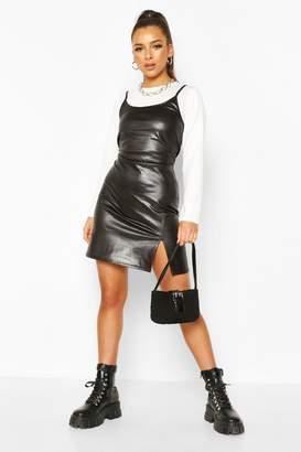 boohoo 2 In 1 Long Sleeved T-Shirt & Mock Croc Slip Dress
