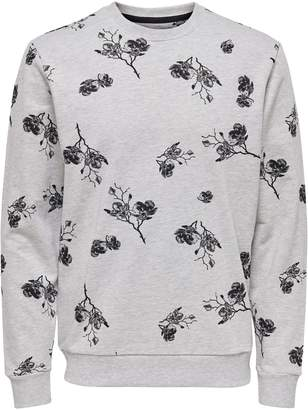 ONLY & SONS Floral-Print Crew Sweatshirt