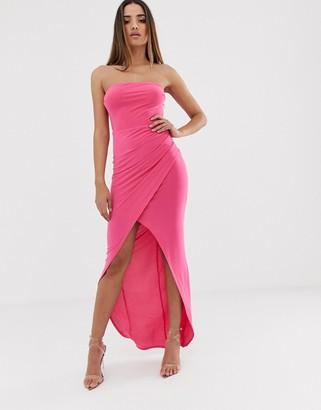 Club L London bandeau slinky maxi dress-Pink