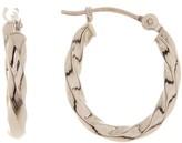 Candela 14K White Gold Twisted Oval Hoop Earrings