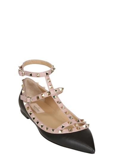 Valentino 10mm Rockstud Calfskin Ballerina Flats