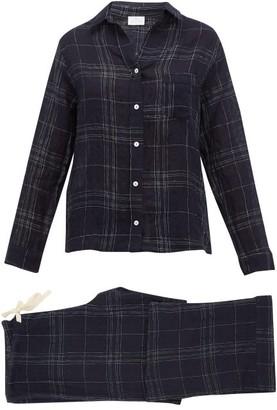 Pour Les Femmes - Checked Linen-blend Pyjamas - Womens - Navy Print