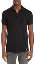 Versace Men's Trim Fit Under Collar Print Polo
